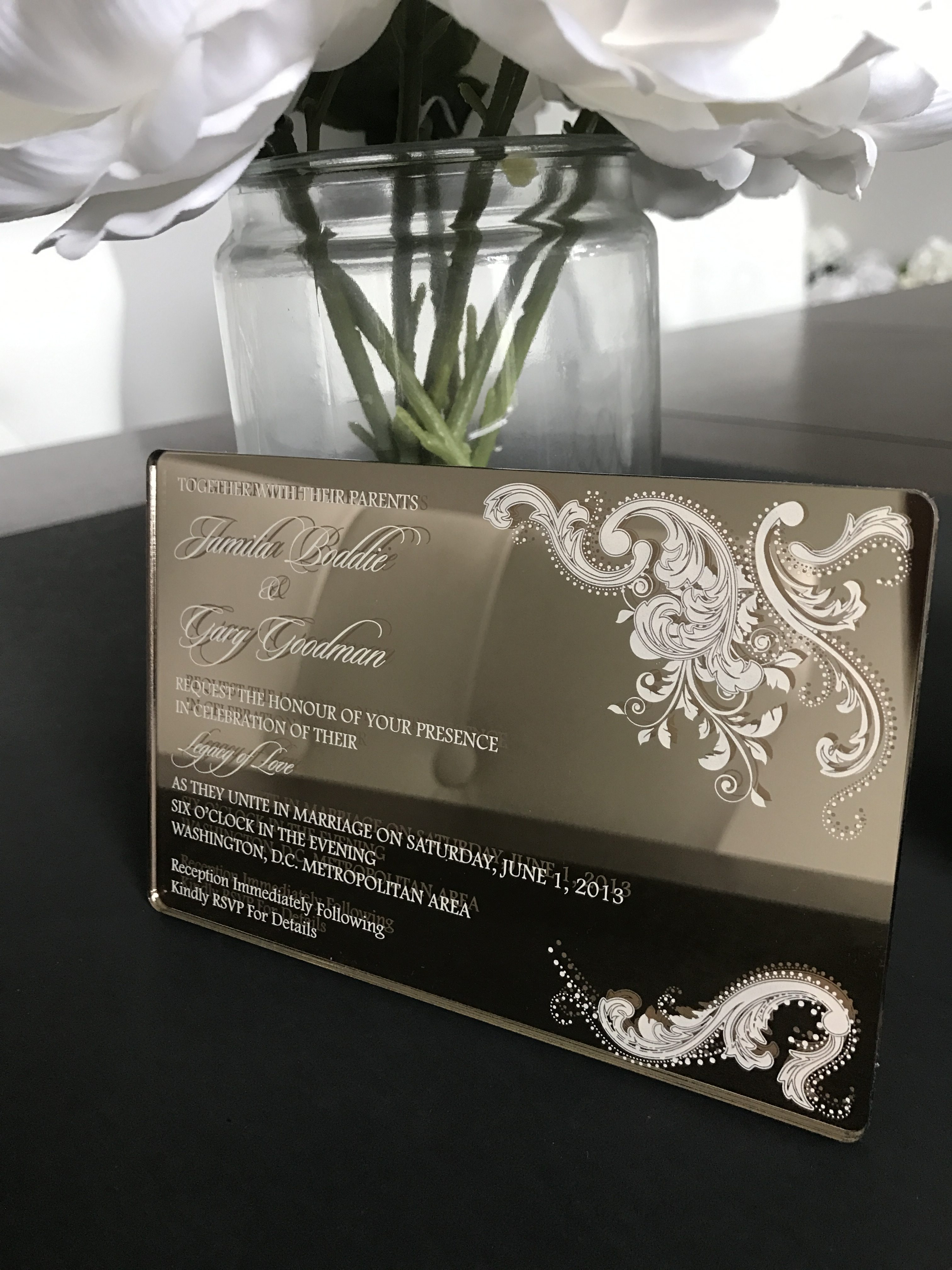 Mirrored Acrylic Wedding Invitation Acrylic Wedding