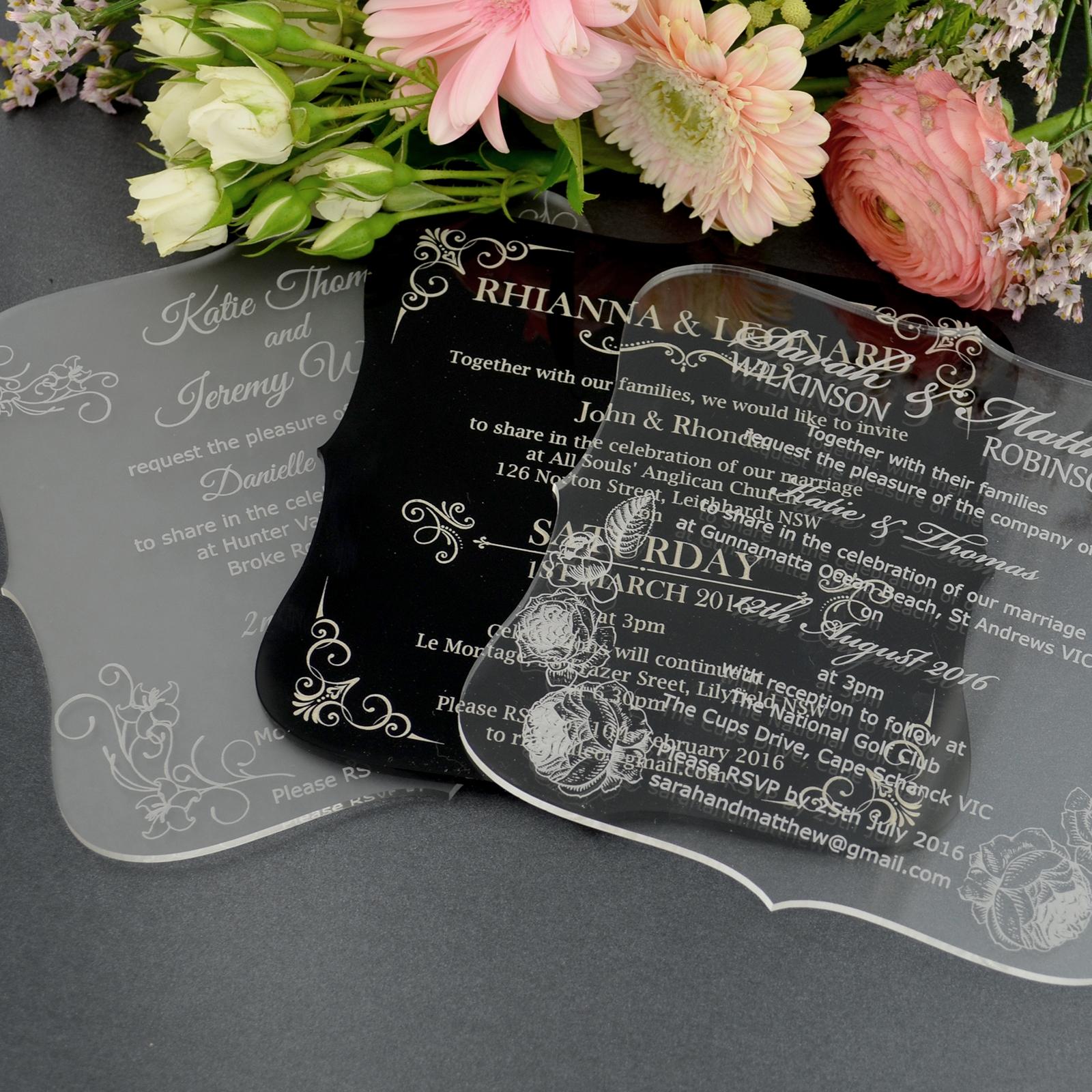 Clear Acrylic Wedding Invitation Invitations